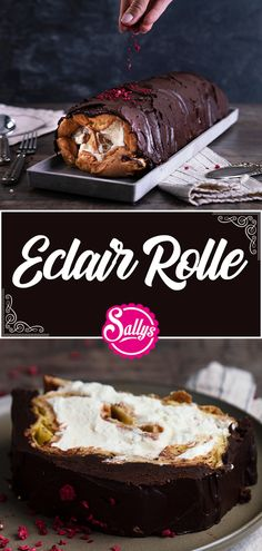 Eclair roll / with vanilla cream & chocolate 🍫 / SALLYS WELT - Trend Christmas Cake 2019 Eclairs, Food Cakes, Doodle Cake, Keto Recipes, Cake Recipes, Canned Pears, Basic Cake, Choux Pastry, Dessert