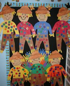 "Create a ""harvest of good work"" featuring scarecrows that your students have designed. Here are some cute scarecrows that some students created that would make a colorful autumn bulletin board display."