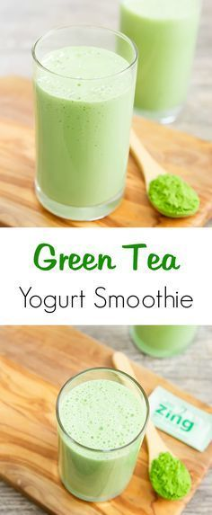 This matcha green tea yogurt smoothie is a healthy afternoon drink to help satisfy hunger and bring a boost of energy.