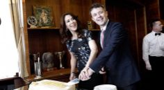 Day 3 in Poland has Crown Prince Frederik and Mary visiting Town Hall where they received a surprise cake honoring their 10th wedding anniversary May 14, 2014