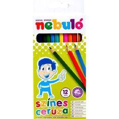 Nebuló színes ceruza készlet hatszögletű, hegyezett 12 színű - Színes ceruzák