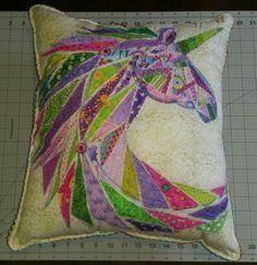 Raw edge applique free motion thread sketching quilting pillow cushion Geometric unicorn patchwork rainbow