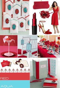 Red Aqua wedding colour,Red Aqua Blue wedding color pallet, itakeyou.co.uk