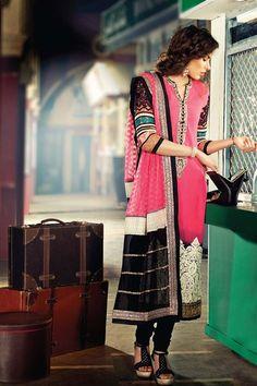Elegant Deep Pink Chiffon Pakistani Style Suit