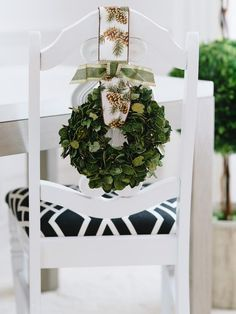Mini Wreath - 8 Festive Holiday Chair Swag Ideas on HGTV