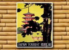 Japan Travel Poster Japanese Wall Art Asian Decor by PrintsofAsia, $12.00