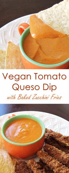 Baked Zucchini Fries Recipe - gluten-free, vegan and served with dairy-free tomato queso dip (Vegan Cheese Plate) Gluten Free Zucchini Fries, Bake Zucchini, Vegan Gluten Free, Vegan Appetizers, Vegan Snacks, Vegan Food, Vegan Apps, Vegan Sweets, Vegan Meals
