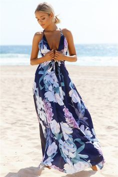 1a484653b9 Sexy Floral Print Sleeveless boho maxi dress boho maxi dress summertime boho  maxi dress formal boho