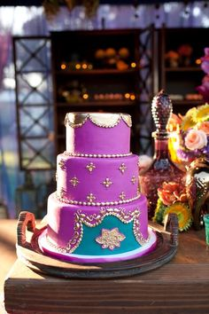 Beautiful Cake Pictures: Beautiful Purple & Turquoise Cake Accented with Gold - Colorful Cakes, Wedding Cakes - Indian Wedding Cakes, Themed Wedding Cakes, Beautiful Cake Pictures, Beautiful Cakes, Fondant Cakes, Cupcake Cakes, Bollywood Cake, Princess Jasmine Cake, Turquoise Cake