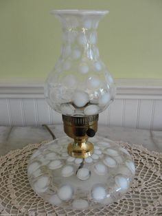 Clear Glass backdrop with white opalescent dots on the flat round base and shade. Works beautifully, no chips, cracks, breaks or repairs. Fenton Lamps, Fenton Glassware, Black Table Lamps, Lamp Table, Best Desk Lamp, Origami Lamp, Antique Oil Lamps, Large Lamps, Hurricane Lamps