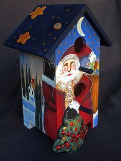 CHRISTMAS SANTA BIRDHOUSE an Original One of a Kind by KrugsStudio, $100.00
