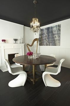 Suzie: Palmerston Design - Chic, eclectic dining room with black painted ceiling, fireplace, ...