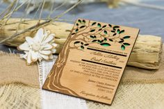 Tree wedding invitation wooden forest by AmazingWoodCraft on Etsy