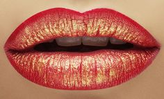 red and gold lips. For la bayadere gamzatti solo Makeup Art, Lip Makeup, Makeup Tips, Beauty Makeup, Makeup Ideas, Lipstick Colors, Lip Colors, Make Up Inspiration, Gold Lips