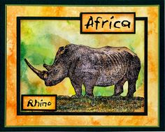 African Rhino card by Helen Conolly using Darkroom Door Wild Africa Vol 3 Rubber Stamps