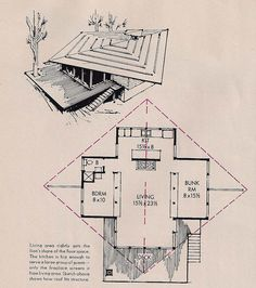 From the July 1962 House and Gardens Magazine, a tiny cabin. I like the basic design very much but would widen the bedrooms a bit, add a second bath, and build ceiling height walls between the living and sleeping areas. Vintage House Plans, Modern House Plans, Small House Plans, Cabana, Small Modern Cabin, Cabin Floor Plans, Tiny House Cabin, Mid Century House, How To Plan