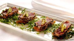 new weekly special | tuna tostada | ahi tuna · white & black sesame seeds · malanga chips · avocado mousse  |  www.mayadelsol.com