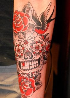 sugar skull black and red tattoo - Google Search