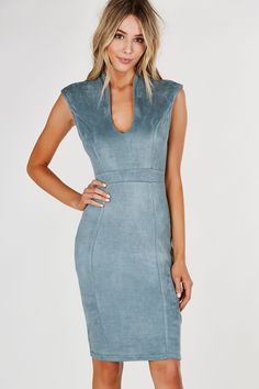 Deep U-neck sleeveless dress with soft suede finish. Cap sleeves with straight hem all around and back zip closure. - Polyester-Spandex blend - Imporfted - Model is wearing size S - Runs true to size