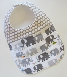 2-fabric Baby Bib, Elephants Spot On, Babiease Baby Boutique, Custom Baby Gift Sets