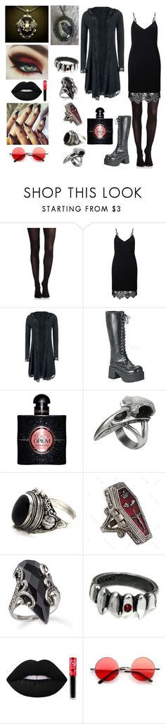 """""""Lace and Cameos"""" by banasheeanni ❤ liked on Polyvore featuring SPANX, Miss Selfridge, Demonia, Yves Saint Laurent, NOVICA and Lime Crime"""