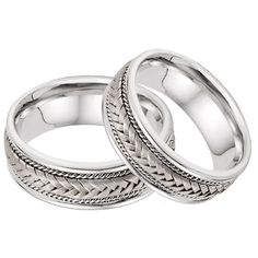 ApplesofGold.com - 14K White Gold 7.6mm Braided Wedding Band Set Jewelry $1,225.00