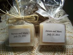 100 Wedding favors soaps - regular size - shea butter, organic, handmade - ribbon knot or raffia rustic knot. $320.00, via Etsy.