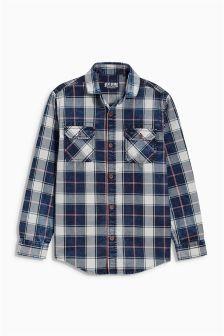 Indigo Washed Check Shirt (3-16yrs)