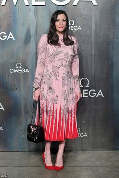 Pink delight: Liv Tyler, absolutely wowed as she arrived in style at the Omega 'Lost In Space' anniversary party held at the Tate Modern in London on Wednesday night Pink Tea Dresses, Pleated Skirt, Lace Skirt, Celeb Style, My Style, Arwen, Liv Tyler, Celebs, Celebrities
