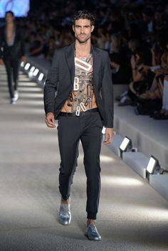"""hausofloue: """"Dirk Bikkembergs S/S 17. Black Suit and Silver Smart Shoes """""""