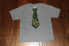 Custom Baylor University BU tie tee shirt for boys - appliqué and embroidery - green and gold with BU logo on cotton t-shirt on Etsy, $18.95