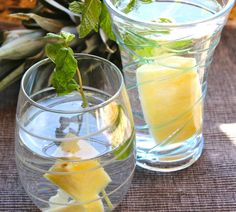 Pineapple and mint spa water so easy and refreshing.  Just add fresh cubes of pineapple and a tad of fresh mint