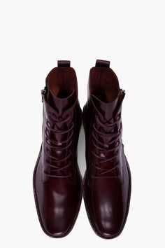 PIERRE HARDY Burgundy Patent Cordovan Boots