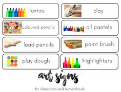 Organise your classroom or homeschool with these print rich art area signs. Use them to label drawer fronts or to display in your art area   you clever monkey