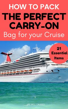 21 Essential Things to Pack in Your Cruise Carry-On - Life Well Cruised - All the embarkation day carry on bag essentials you need for your cruise. As a first time cruiser, - Bahamas Cruise, Cruise Port, Cruise Travel, Cruise Vacation, Travel Packing, Travel Tips, Vacation List, Honeymoon Cruise, Europe Packing