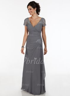Mother of the Bride Dresses - $172.04 - A-Line/Princess V-neck Floor-Length Chiffon Mother of the Bride Dress With Ruffle Beading Appliques Lace (0085094885)