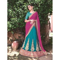 http://www.thatsend.com/shopping/lp/fvp/TESG3900/qf/color[]blue  Blue Net Designer Lehanga Choli Apparel Pattern Embroidered. Work Border Lace, Heavy Embroidery. Bottom Color Blue. Occasion Ceremonial, Reception.