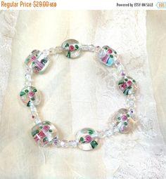 SALE 20% OFF Pink & Green Flower Bracelet Crystals and Lampwork Glass