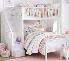 Simple and strong, this classic American set is generous in scale to last your child through all of the important stages. Extremely versatile, the space below the upper bunk can be filled with an additional bed or furniture. With a beautiful built…