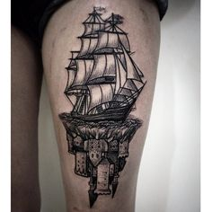 Upside-down castle and sailboat by Alex Tabuns.