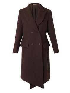 Christopher Kane Diagonal Cross-Front Wool Coat