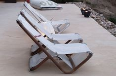 Dvelas turns used ship sails into unique easy chairs, loungers and poufs