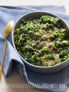 Creamed Kale - Serves 3 to 4 Ingredients: 2 bunches kale, washed dried and torn into pieces (ribs removed), 2 tablespoons unsalted butter, softened (can substitute coconut oil for healthier alternative), 1 garlic clove, minced, 2 tablespoons minced shallot, 3/4 cup unsweetened Almond Breeze almond milk, 1/4 cup freshly grated parmesan, 1/2 teaspoon crushed red pepper flakes, zest of 1 lemon, salt and pepper to taste