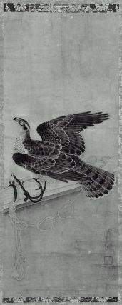 Tethered Hawk  架鷹図  Japanese, Edo period, 17th century  Formerly attributed to Soga Chokuan, Japanese, dates unknown, Hanging scroll; ink on paper, MFA