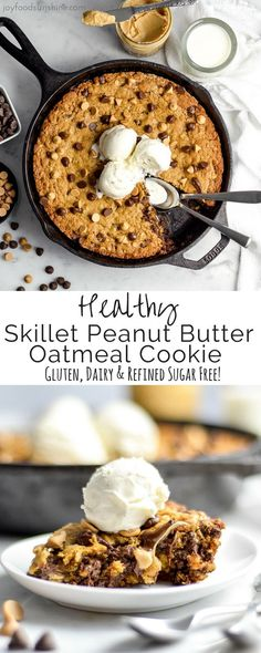 This Healthy Skillet Peanut Butter Oatmeal Cookie is a chocolate and peanut butter lover's dream come true. A slightly under-baked, gooey dessert bursting with peanut butter and chocolate and given a healthy makeover! Gluten-free, dairy-free and refined s