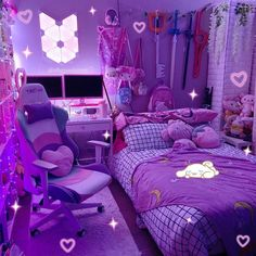 Room Design Bedroom, Girl Bedroom Designs, Room Ideas Bedroom, Bedroom Decor, Neon Room Decor, Game Room Decor, Bedroom Styles, Bedroom Inspo, Bedroom Furniture