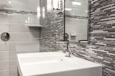 This stainless steel mosaic is the perfect fit for the modern bath #mosaicmonday #tile #thetileshop #mosaictile
