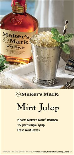 The Classic Maker's Mark Mint Julep: a cocktail that's as much a part of Southern culture as hospitality. With pronounced sugar and mint notes, the Mint Julep goes exceedingly well with long summer days, horses, pretty hats, and good company – and the goo Bar Drinks, Cocktail Drinks, Cocktail Recipes, Alcoholic Drinks, Beverages, Happy Hour Drinks, Bourbon Cocktails, Derby Party, Alcohol Recipes