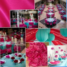 pink and turquoise wedding decor inspiration