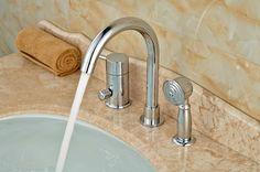 Deck Mounted Chrome Brass Bathroom Tub Faucet 3 PCS Sink Mixer Tap Diverter W/ Hand Sprayer #Affiliate